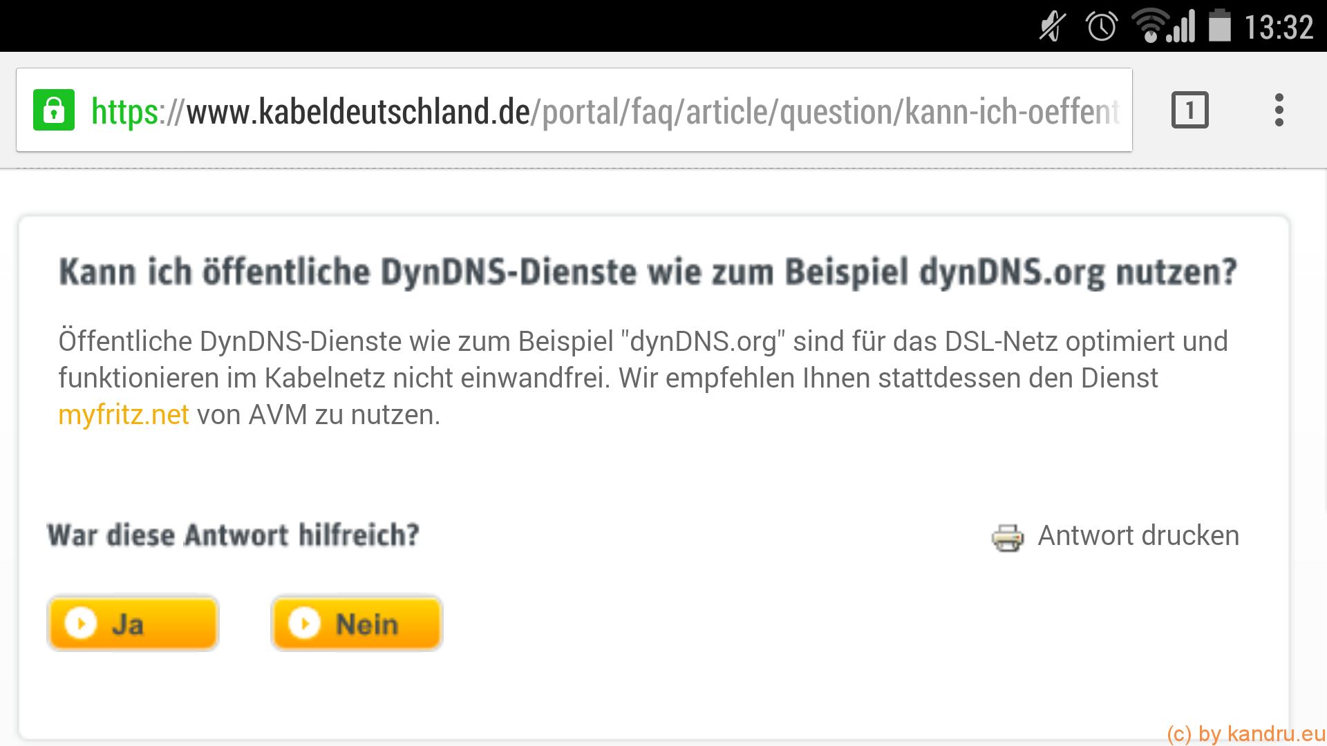 Dienste wie DynDNS funktionieren nur im DSL-Netz