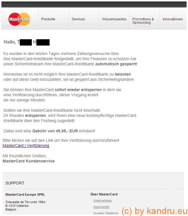 Phishing: MasterCard angeblich gesperrt