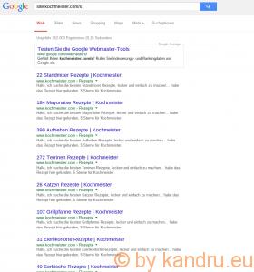 Google-Suche nach kochmeister.com-Suchergebnissen